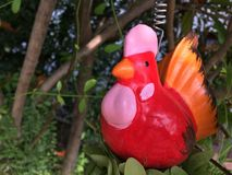 Red chicken doll In the garden royalty free stock image