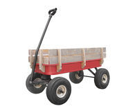 Red child's wagon with sideboards isolated. Stock Photos