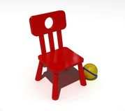 Red child chair. Over the whire background Royalty Free Stock Image