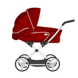 Red child pram, baby carriage or stroller  on white background Royalty Free Stock Photos