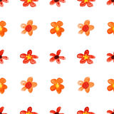 Red childlike watercolor flowers Stock Photos