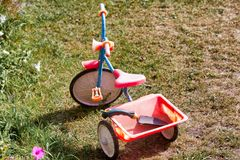 A red children bicycle is standing on the green grass. royalty free stock photography