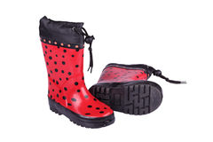 Red children's boots Royalty Free Stock Photography