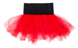 Red children`s tulle skirt isolated. On white background royalty free stock photos