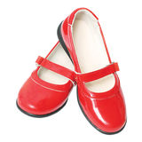 Red children's varnished shoes Royalty Free Stock Images