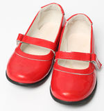 Red children's varnished shoes Stock Photography