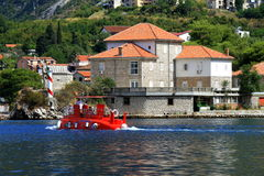 The  red children submarine floats  on the Bay of Kotor, Montenegro. Royalty Free Stock Photos