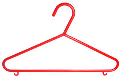 Red childrens plastic coat hanger cutout Royalty Free Stock Image