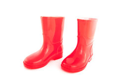 Red childrens rainboots Royalty Free Stock Photos