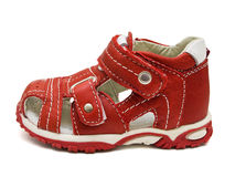 Red childrens shoe Royalty Free Stock Photography