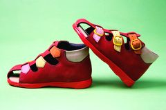 Red childrens shoes Royalty Free Stock Photography