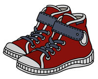 Red childrens sneakers. Hand drawing of red, white and gray childrens sport shoes stock illustration