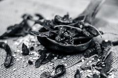 Popular Resham patta red chilli in wooden scoop. Stock Photo