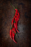 Red chili. Fresh red chili on wood table Royalty Free Stock Photography