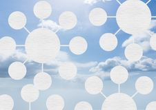 Sky clouds with graphics of connectors mind maps Stock Photo