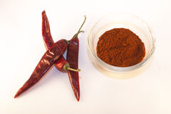 Red chili and chili powder. Isolated on white background Stock Image
