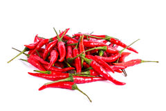 Red chili or chilli cayenne pepper isolated on white background.  Stock Photo
