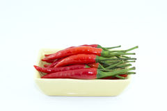 Red chili in dish Royalty Free Stock Images