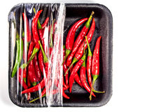 Red chili in foam and plastic package. Red chili in foam tray and plastic package Royalty Free Stock Photography
