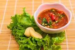 Red chili and garlic sauce Royalty Free Stock Images