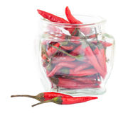 Red chili in a glass jar Stock Image