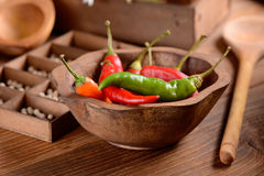 Red chili, green and orange Royalty Free Stock Photo