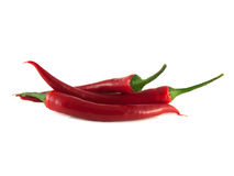 Red chili hot peppers on white background. Stock Photo