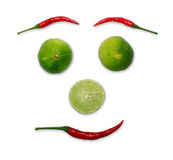 Red chili and limes Royalty Free Stock Photo