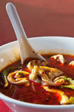 Red chili oil soup with won-tons Royalty Free Stock Image