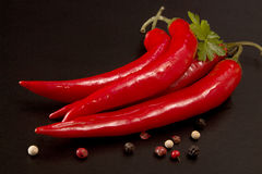 Red chili pepper on black background. Composition of group chili Stock Photos