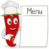 Red Chili Pepper with Blank Menu. A funny cartoon red hot chili pepper character with chef hat and holding a blank menu, isolated on white background. Eps file Stock Illustration