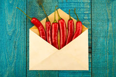 Red chili pepper in a blue envelope on old wooden background Stock Image
