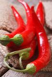 Red chili pepper on a burlap macro. vertical. Royalty Free Stock Photography