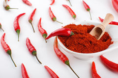 Red chili pepper with chili powder Stock Image