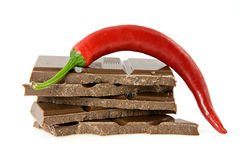 Red chili pepper with chocolate Royalty Free Stock Photography