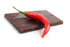 Red chili pepper and chocolate Royalty Free Stock Photography