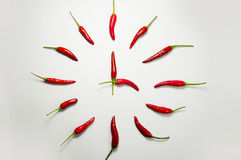 Red chili pepper clock Stock Photos