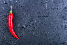 Red chili pepper on a dark background. Concept with space for your text Royalty Free Stock Images