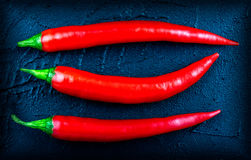 Red chili pepper on a dark background. Concept with space for your text Stock Photos