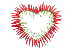 Red chili pepper heart stock photos