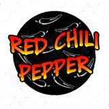 Red Chili Pepper icon. Silhouette of chili pepper on chalkboard. Ground background. Stock . Flat design Stock Photo