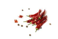 Red chili pepper isolated on a white background.  Royalty Free Stock Photos