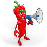 Red chili pepper with megaphone Stock Images