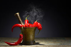Red chili pepper in old copper mortar. Stock Photos