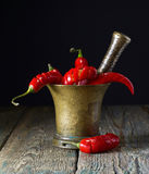 Red chili pepper in old copper mortar. Royalty Free Stock Images