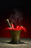 Red chili pepper in old copper mortar. Stock Images
