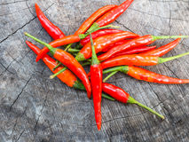 Red chili pepper on old wood Royalty Free Stock Photos