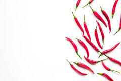 Red chili pepper or paprika on white background top view space for text Royalty Free Stock Photo
