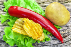 Red Chili Pepper with potato. Chips on lettuce leaves Royalty Free Stock Photos