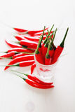 Red chili pepper in a row selective focus Royalty Free Stock Photos
